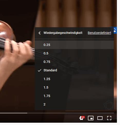 Video bei Youtube schneller lansamer abspielen